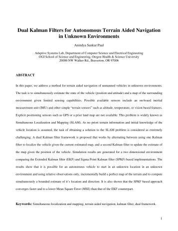 Dual Kalman Filters for Autonomous Terrain Aided Navigation in ...