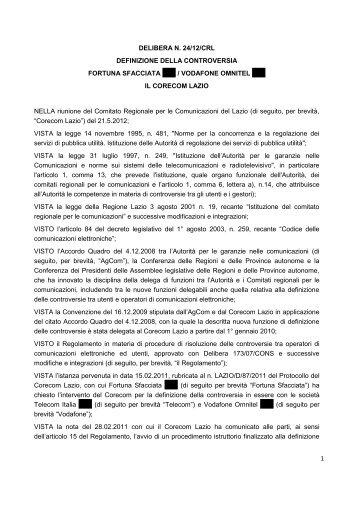 1 DELIBERA N. 24/12/CRL DEFINIZIONE DELLA ... - Corecom Lazio