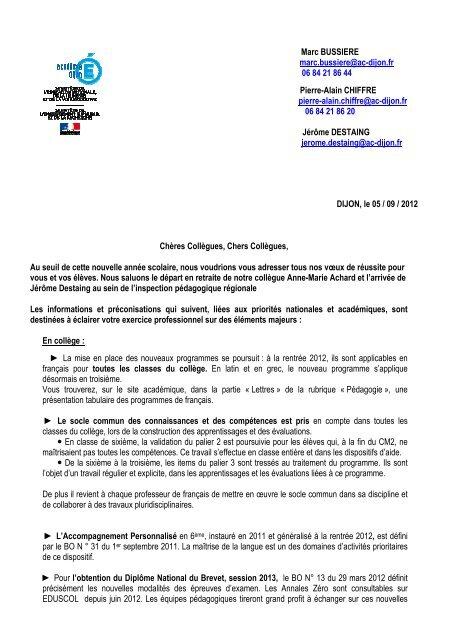 Lettre De Rentrãe Lettres 2012 Vdd Site Lettres
