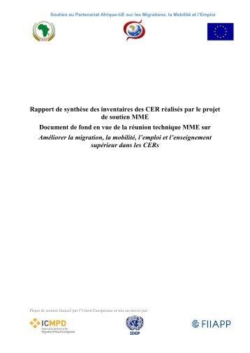 Rapport de synthèse des inventaires des CER réalisés par le projet ...