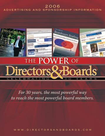 the POWER of - Directors & Boards