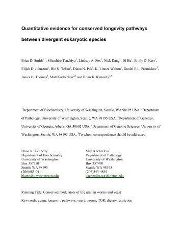 Smith, E.D., et al., Quantitative evidence for conserved longevity ...