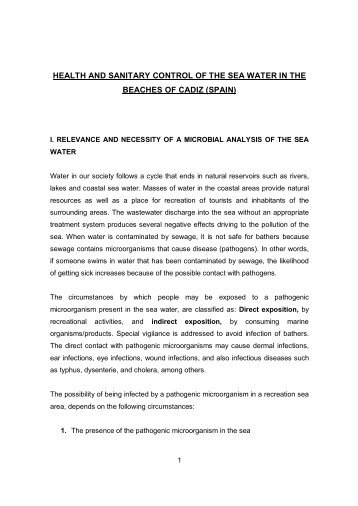 health and sanitary control of the sea water in the beache…