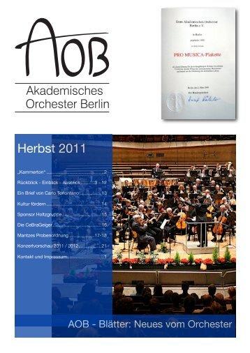 AOB-Blätter 2011 - Akademisches Orchester Berlin