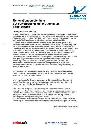 Renovationsempfehlung auf pulverbeschichteten ... - Akzonobel