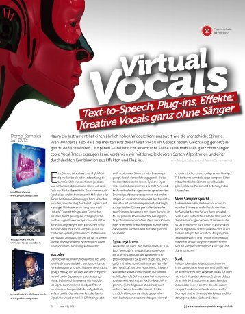 Text-to-Speech, Plug-ins, Effekte: Kreative Vocals ... - marco scherer