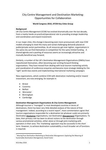 City Centre Management and Destination Marketing - Harold Goodwin