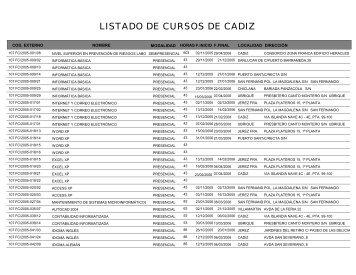 LISTADO DE CURSOS DE CADIZ