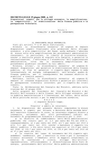 DECRETO-LEGGE 25 giugno 2008 , n. 112 Disposizioni ... - Uil
