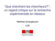 Observations sur la Recherche en Réseaux - People - EPFL