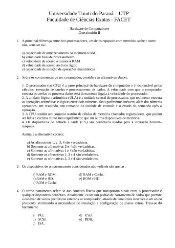 Questionario II - Gerds - Universidade Tuiuti do Paraná