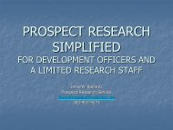 PROSPECT RESEARCH SIMPLIFIED - Supporting Advancement