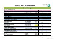 Lectures taught in English at HFU