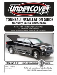 TONNEAU INSTALLATION GUIDE Warranty, Care ... - Undercover