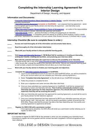 Interior Design Internship Information Packet - University of Minnesota