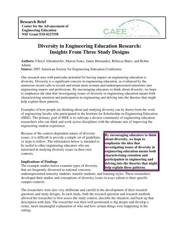 Diversity in Engineering Education Research: Insights From Three ...