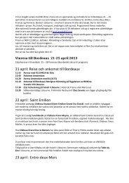 21 april: Reise och ankomst till Bordeaux 22 april : Saint Emilion 23 ...