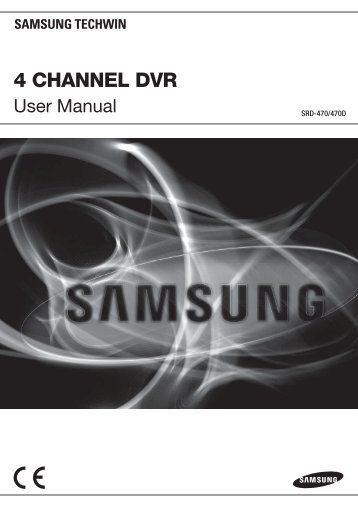 User Manual Samsung SRD-470D/470DC DVR