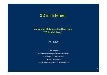 3D im Internet - Vorlesungen - Universität Osnabrück