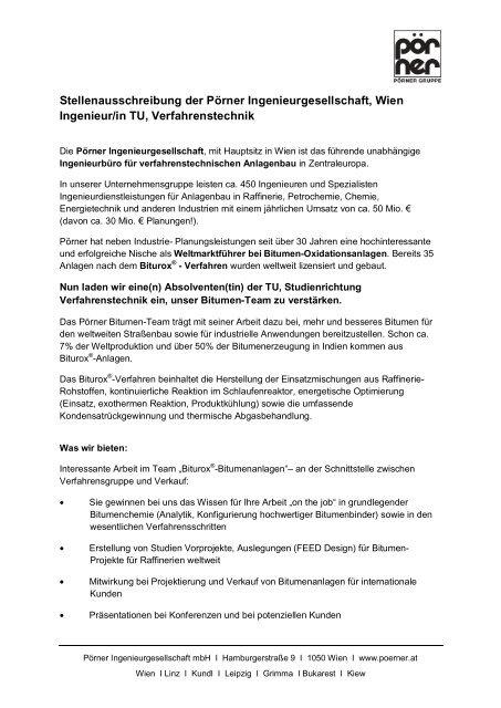 Stellenausschreibung der Pörner Ingenieurgesellschaft, Wien ...