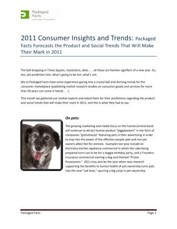 2011 Consumer Insights and Trends: Packaged Facts Forecasts the ...