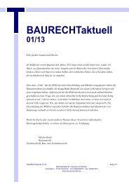 BAURECHTaktuell 01/13 - Kanzlei Dr. Tauchert und Partner