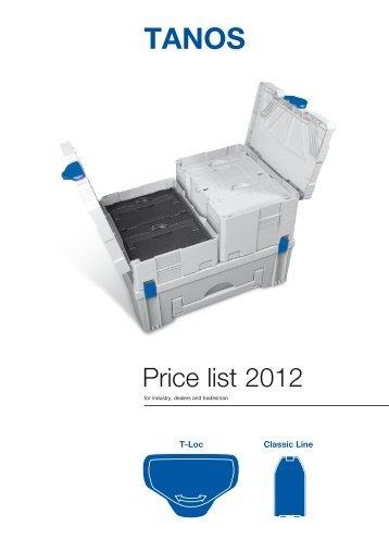 Price list 2012 - Tanos