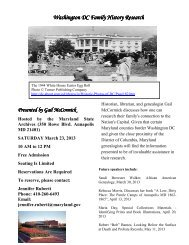 Washington DC Family History Research - Maryland State Archives