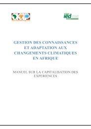 Manuel de capitalisation des expériences d'adaptation aux ...