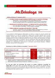 Chiffres d'affaires S1 2013 - Groupe Mr.Bricolage