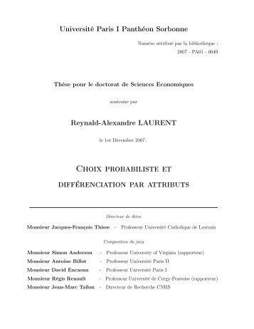 Choix probabiliste et différenciation par attributs - TEL