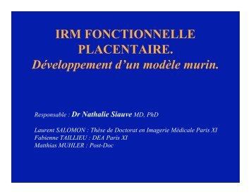 IRM fonctionnelle placentaire : Développement d'un modèle murin