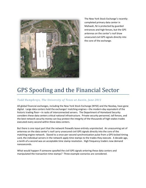 GPS Spoofing and the Financial Sector - The Radionavigation
