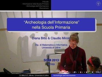 """Archeologia dell'Informazione' - Dipartimento di Matematica """"U. Dini"""""""