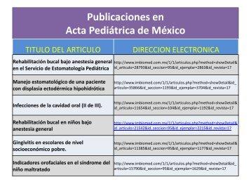 Publicaciones - Instituto Nacional de Pediatría