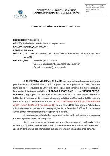 EDITAL PP 20.011-2013 - Prefeitura Municipal do Natal