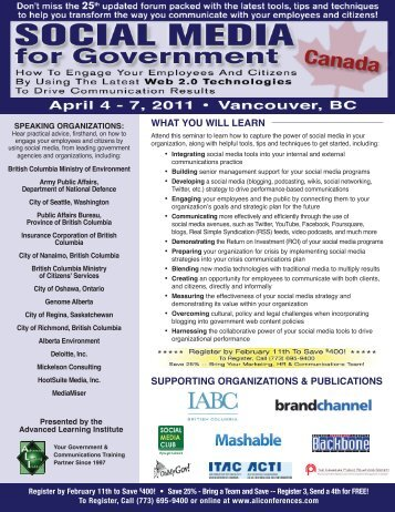 Social Media for Government - April 4-7, 2011 - Advanced Learning ...