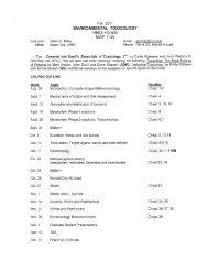 NRES 432/632 - Environmental Toxicology (Glenn Miller)