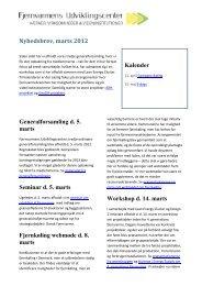 FVU Nyhedsbrev, marts 2012 - Fjernvarmens Udviklingscenter