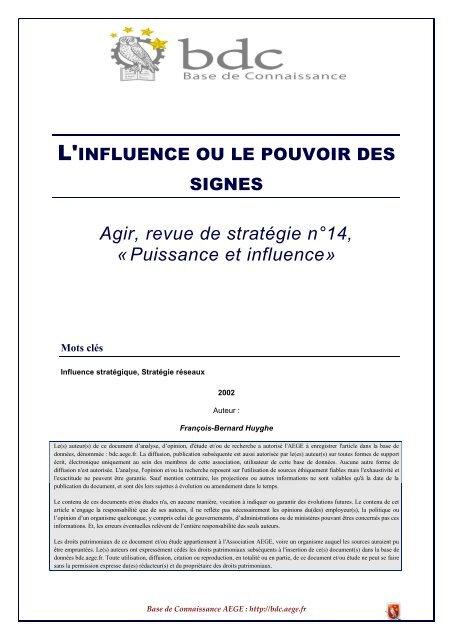 L'influence ou le pouvoir des signes - Base de connaissance AEGE
