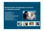 Berkshire West 10 application to become an integration pioneer