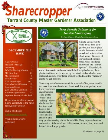 december 2010 issue - Tarrant County Master Gardener Association