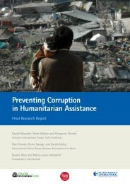 Preventing corruption in humanitarian action - Humanitarian Outcomes