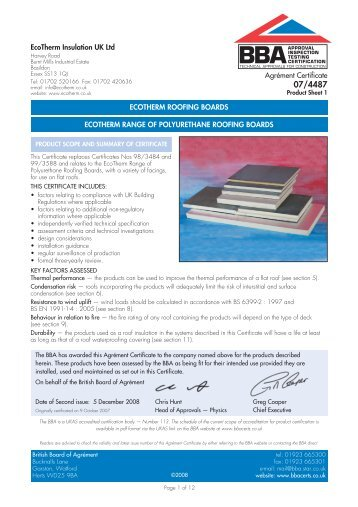 Securock 174 Glass Mat Roof Board Submittal Rf32