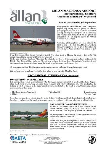 MILAN MALPENSA AIRPORT - Ian Allan Travel