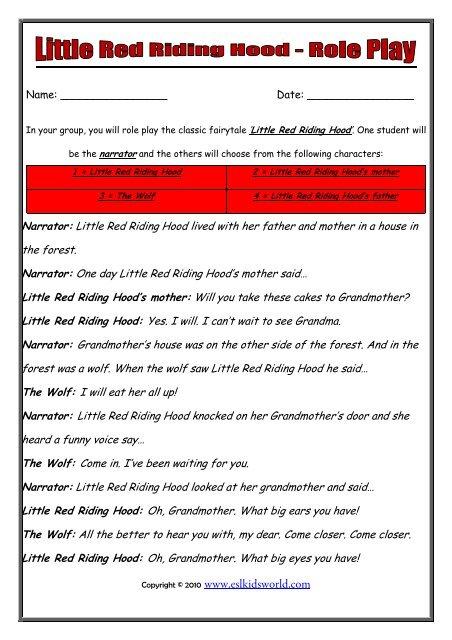 Role Play Little Red Riding Hood Worksheet Esl Kids World