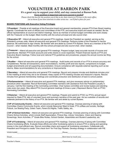 Pta Treasurer Forms
