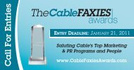 ENTRY DEADLINE: January 21, 2011 - CableFax