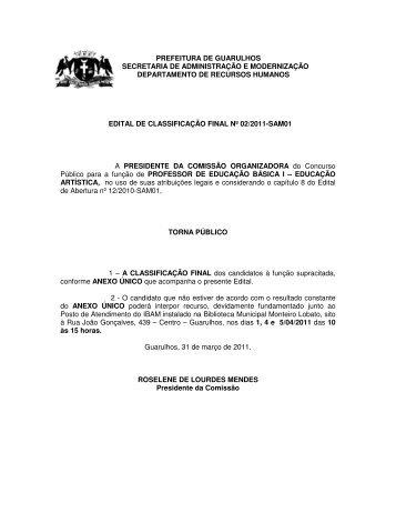 Edital de Classificação Final nº 02/2011 – SAM01 - Prefeitura de ...