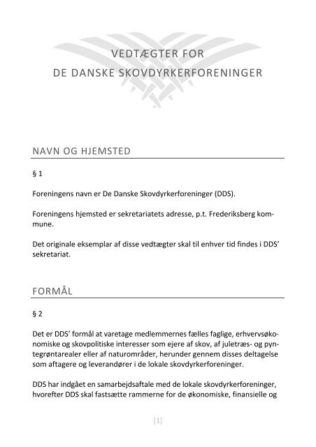 VEDTÆGTER - Skovdyrkerforeningen
